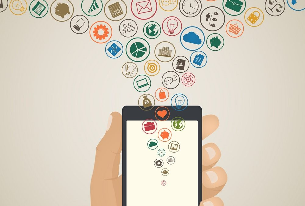 Mobile app development concept, Cloud media icons around tablet